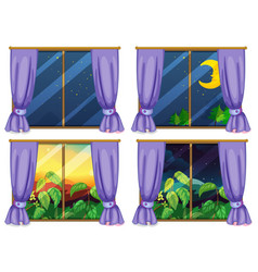 Four window scenes day and night vector