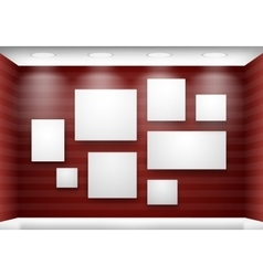 Gallery empty frames on red wall with lighting vector image