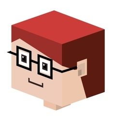 Head lego child with red hair and glasses vector