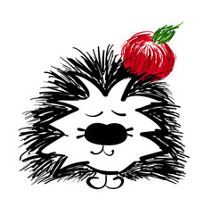 Hedgehog with red apple on a white background vector
