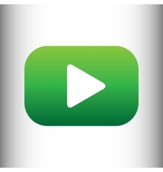 Play sign green gradient icon vector