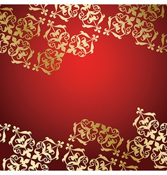 red background with golden decorative ornament vector image vector image