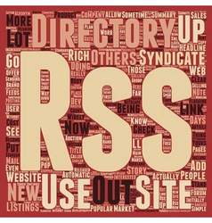 RSS Directories text background wordcloud concept vector image vector image