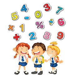 school kids and many numbers vector image vector image