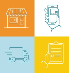 set of linear flat icons and infographics design vector image