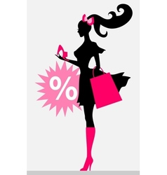 shopping girl - sale vector image vector image