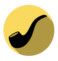 Smoke pipe sign flat black icon with flat vector