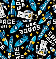 Space man and rockets in space seamless pattern vector