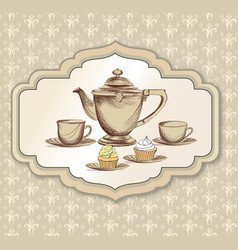 Tea cup kettle retro card tea time vintage vector