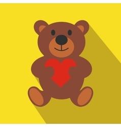 Teddy bear flat icon vector image vector image