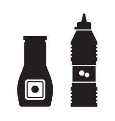 Tomato ketchup bottles icons vector