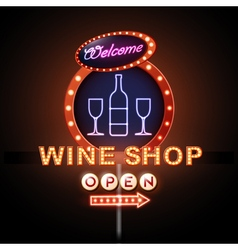 Wine shop neon sign vector