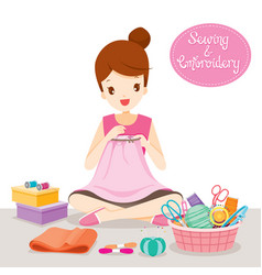 woman sewing clothes by hand in embroidery hoop vector image