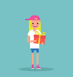 Young happy blond girl holding a bright gift box vector