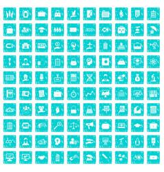 100 portfolio icons set grunge blue vector