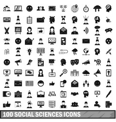 100 social sciences icons set simple style vector