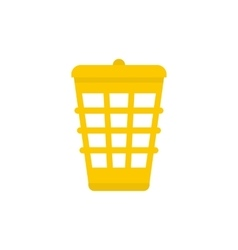 Yellow garbage basket icon flat style vector