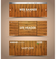 set of wooden web header vector image