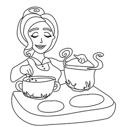 Housewife cooking soup vector