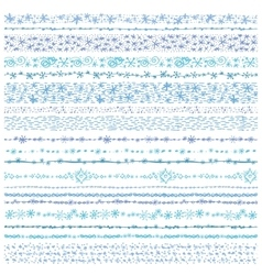 Winter snow seamless line borders setchristmas vector