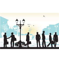 people silhouettes in blue background vector image