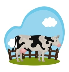Cow animal farm in the field vector