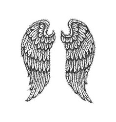 dotwork angel wings vector image
