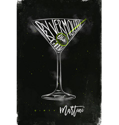 dirty martini cocktail chalk color vector image