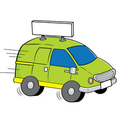 Cartoon van with a sign vector
