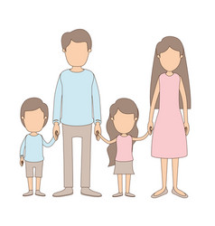 Light color caricature faceless family with vector
