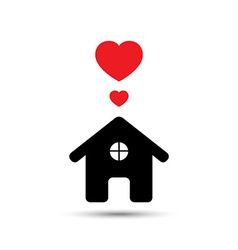 Love heart house vector