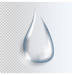 Realistic pure transparent water drop with shadow vector