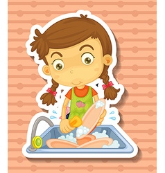 Doing dishes vector