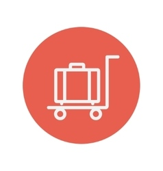Trolley luggage thin line icon vector