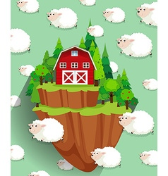 Farmhouse and sheep flying in the sky vector