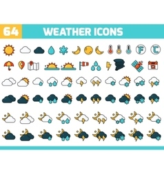 64 color weather icons with sun moon clouds and vector image
