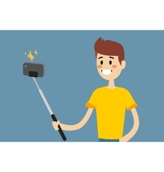 Selfie photo shot man or boy portrait vector