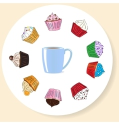 Fancy sketchy cupcakes background vector