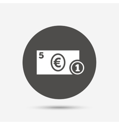 Cash sign icon euro money symbol coin vector