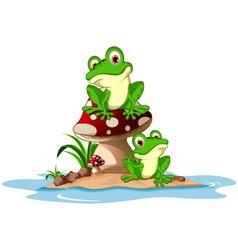 Funny frog sitting on mushroom vector