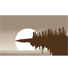 Silhouette of old town in the cliff vector