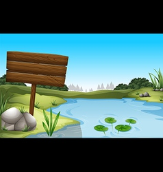 An empty signboard near the pond vector image