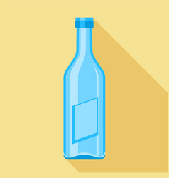 Blue glass bottle icon flat style vector
