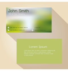 Blurred green background simple business card vector