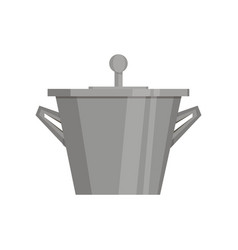 boiling water in pan black cooking pot flat vector image vector image