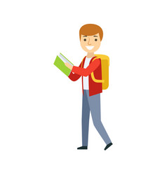 Boy walking with backpack reading a book part of vector