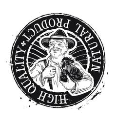 chicken farm logo design template farmer vector image vector image