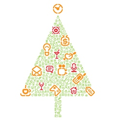 Christmas tree with gifts made of icons vector image