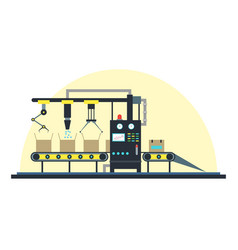 conveyor machine fully automatic production line vector image