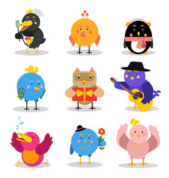 cute cartoon birds with different emotions and vector image